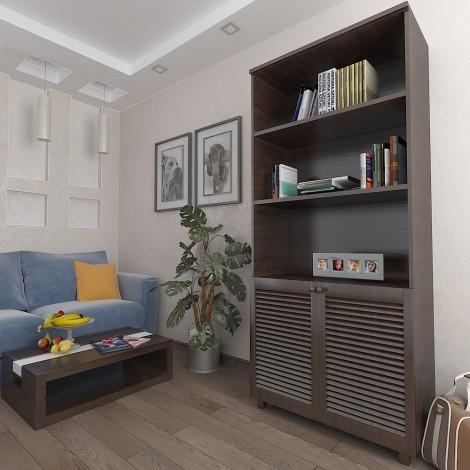 Шкаф с жалюзийными дверями из натурального дерева Тавол Сиеко 2Д3ПОЛ 900х450х2080 Венге