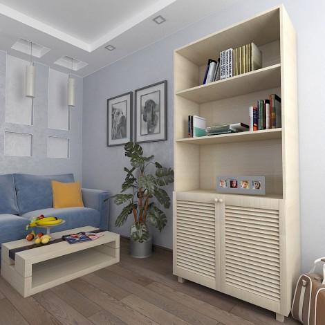 Шкаф с жалюзийными дверями из натурального дерева Тавол Сиеко 2Д3ПОЛ 900х450х2080 Молочный