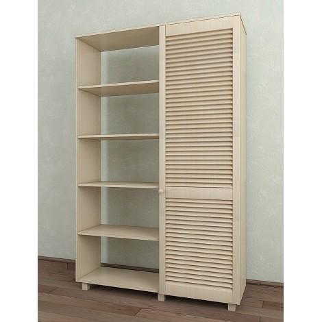 Шкаф с жалюзийными дверями из натурального дерева Тавол Сиеко 1Д2С4ПОЛ 1120х380х1770 Молочный