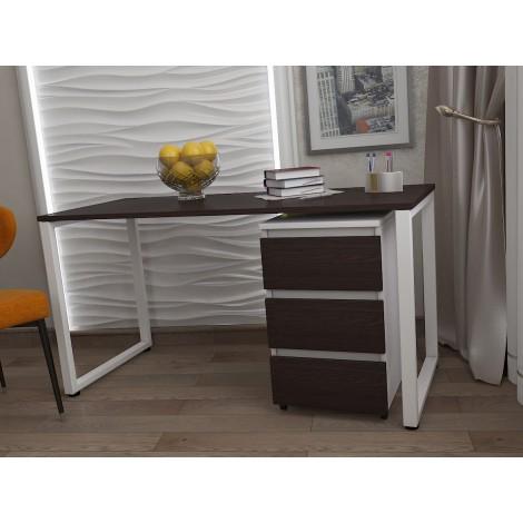 Стол Тавол КС 8.1 с мобильной тумбой металл опоры белые 120смх60смх75см ДСП 16 мм Венге/Белый