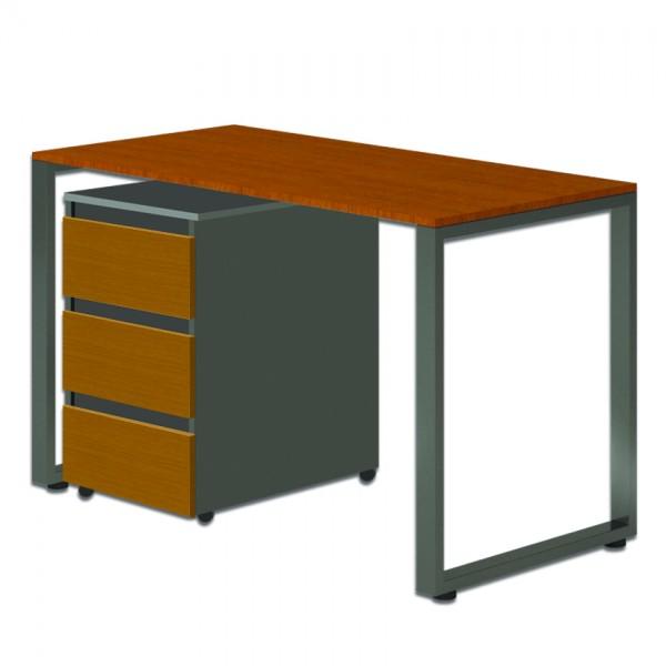 Стол Тавол Loft КС 8.1 с мобильной тумбой металл опоры черные 120смх60смх75см ДСП Черный Орех
