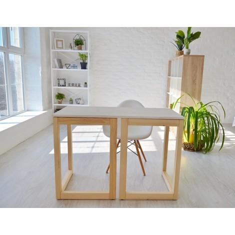 Стол Тавол Рахмен натуральное дерево 110смх55смх75см Натуральный+Белый