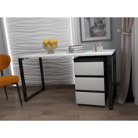 Стол Тавол КС 8.1 с мобильной тумбой металл опоры черные 140смх60смх75см ДСП 16 мм Черный/Белый