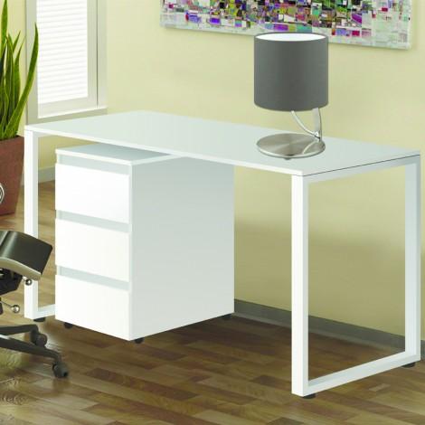 Стол Тавол Loft КС 8.1 с мобильной тумбой металл опоры черные 120смх60смх75см ДСП Белый