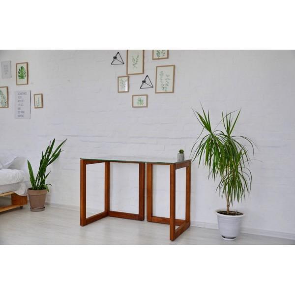 Стіл Тавол Рахмен натуральне дерево+загартоване скло 110смх55смх75см Горіх