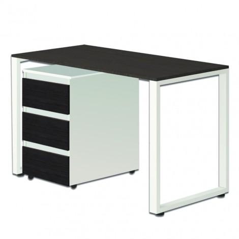 Стол Тавол Loft КС 8.1 с мобильной тумбой металл опоры черные 120смх60смх75см ДСП Венге Белый