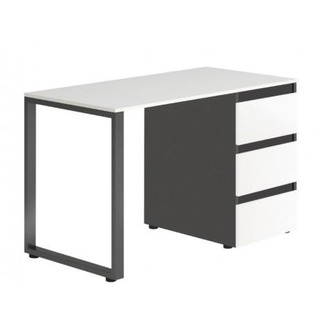 Стол Тавол Loft КС 8.1 со стационарной тумбой металл опоры черные 120смх60смх75см ДСП Черно Белый