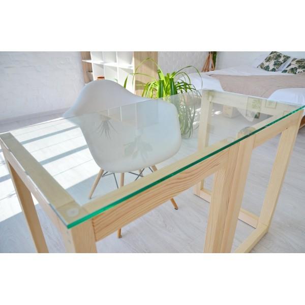 Стол Тавол Рахмен натуральное дерево+закаленное стекло 110смх55смх75см Натуральный