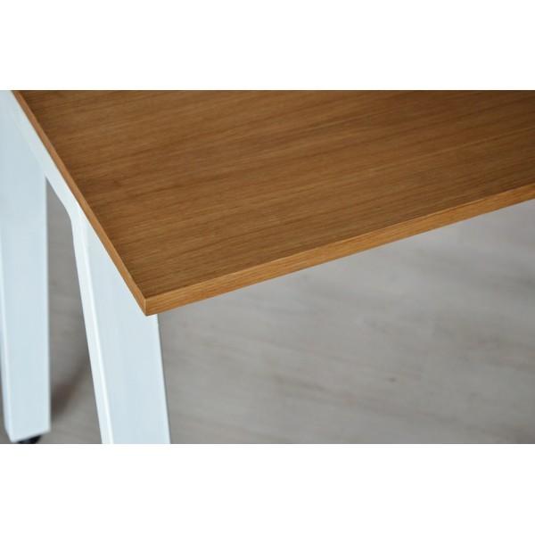 Стол Тавол КС 8.4 металл опоры белые 100смх60смх75см шпон натурального дерева ДУБ