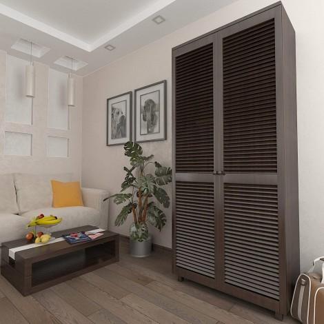 Шкаф с жалюзийными дверями из натурального дерева Тавол Сиеко 5ПОЛ 900х450х2080 Венге