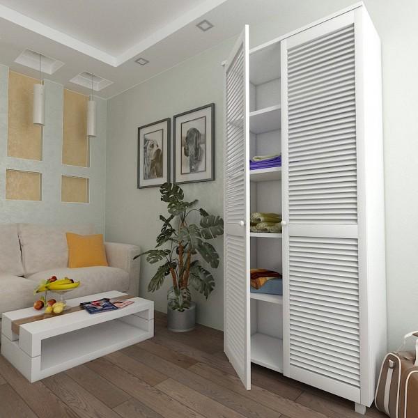 Шафа з жалюзійними дверима з натурального дерева Тавол Сиеко 5ПОЛ 900х450х2080 Білий