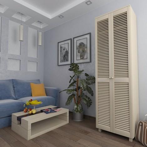 Шкаф платяной с жалюзийными дверями из натурального дерева Тавол Сиеко 2ПОЛ 600х450х2080 Молочный