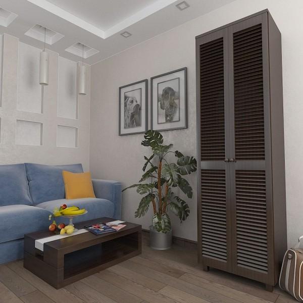 Шкаф платяной с жалюзийными дверями из натурального дерева Тавол Сиеко 2ПОЛ 600х450х2080 Венге