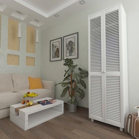 Шкаф платяной с жалюзийными дверями из натурального дерева Тавол Сиеко 2ПОЛ 600х450х2080 Белый