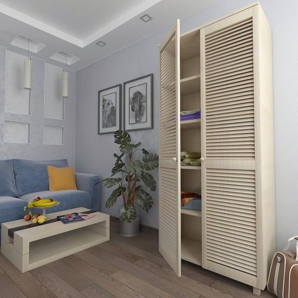 Шкаф с жалюзийными дверями из натурального дерева Тавол Сиеко 5ПОЛ 900х450х2080 Молочный