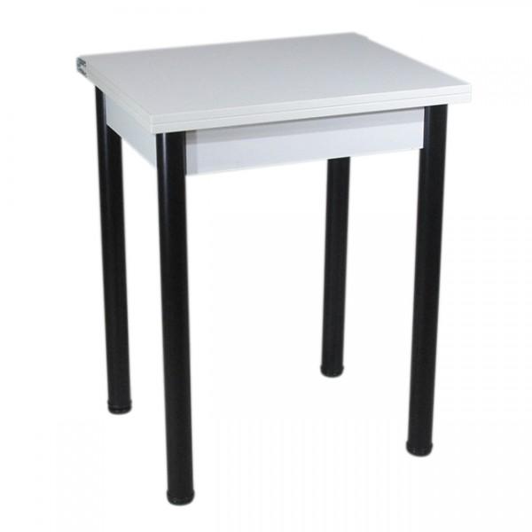 Стол кухонный раскладной Тавол Компакт 50 см х 60 см х 75 см ноги черный металл Белый