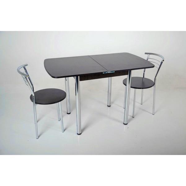 Комплект раскладной стол Тавол Овале + 2 стула хром Венге