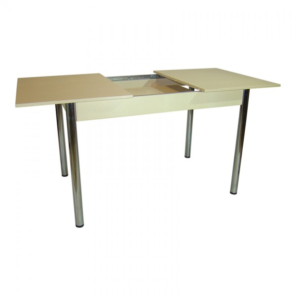 Стол обеденный раздвижной Тавол Скор 115 см х 75 см х 75 см ноги металл хром Молочный