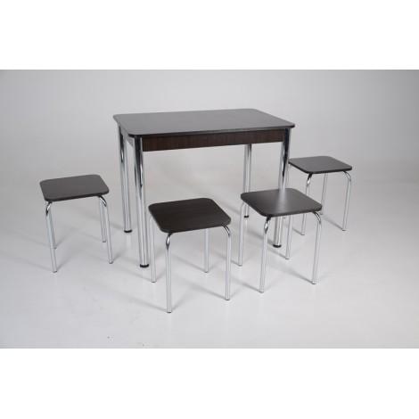 Кухонний комплект Тавол Класик (стіл+4 табурети) 93х60х75 ноги метал хром Венге
