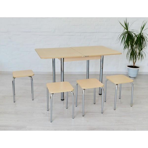 Раскладной стол Тавол Гранди + 4 табурета 80смх70см (140смх80см) ноги металл хром Молочный