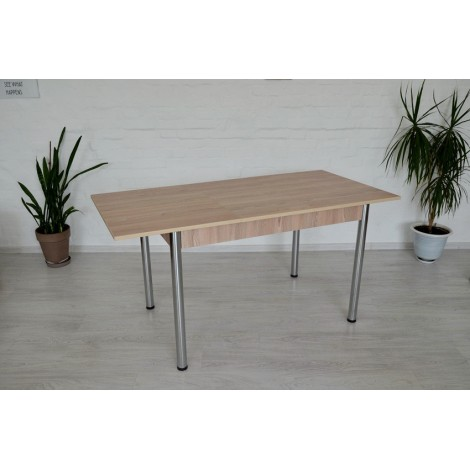 Стол обеденный раздвижной Тавол Скор 115 см х 75 см х 75 см ноги металл хром Ясень