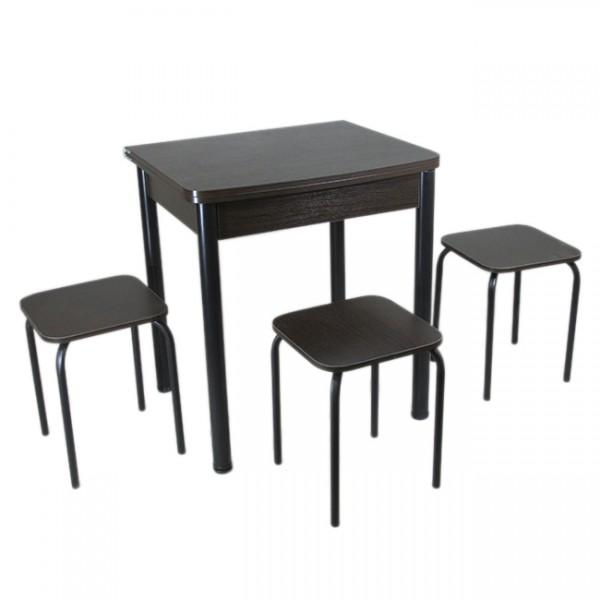 Столовий набір Тавол Овалі (Розкладний стіл + 3 табурета) ніжки чорний метал Венге