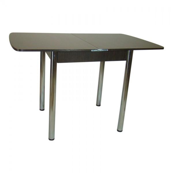 Стол раскладной Тавол Овале 60 см х 70 см х 75 см овальный ноги металл хром Венге