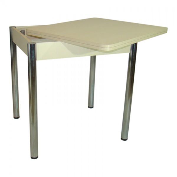 Стол обеденный раскладной Тавол Формади 65смх75смх75см ноги металл\хром Молочный