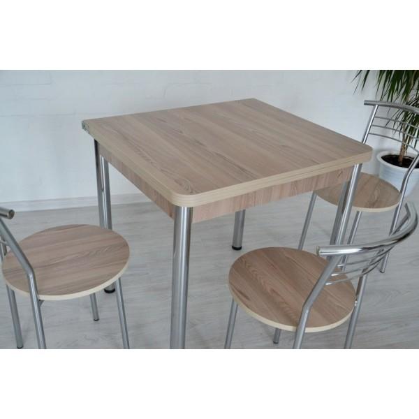 Раскладной стол Тавол Гранди + 4 стула 80смх70см (140смх80см) ноги металл хром Ясень