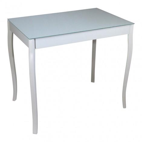 Стеклянный стол Тавол Видрис 93смх60смх75см фигурные деревянные ножки Белый