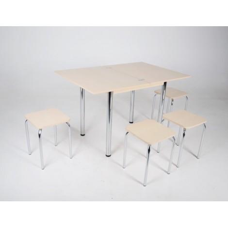 Кухонный комплект стол Тавол Ретта раскладной + 4 табурета Молочный