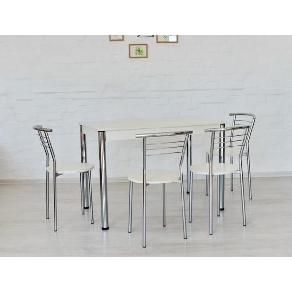 Комплект Тавол Видрис Б (Стол+4 стула) 110смх65смх75см металл хром Белый