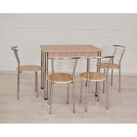 Обеденный комплект Тавол Классик (стол+4стула) 93смх60смх75см ножки хром Ясень