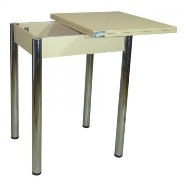 Стол кухонный раскладной Тавол Компакт ноги металл хром 50 см х 60 см х 75 см  Молочный
