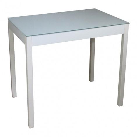 Стеклянный стол Тавол Видрис 93смх60смх75см деревянные ножки Белый