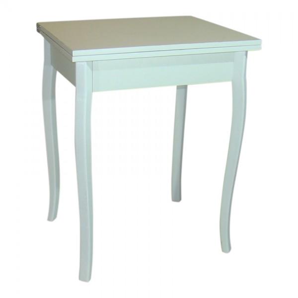 Стол кухонный раскладной Тавол Компакт 50 см х 60 см х 75 см ноги фигурные деревянные Белый