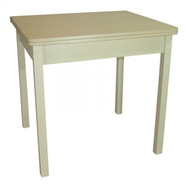 Стол обеденный раскладной Тавол Гранди 70 см х 80 см х 75 см ноги прямое дерево Молочный