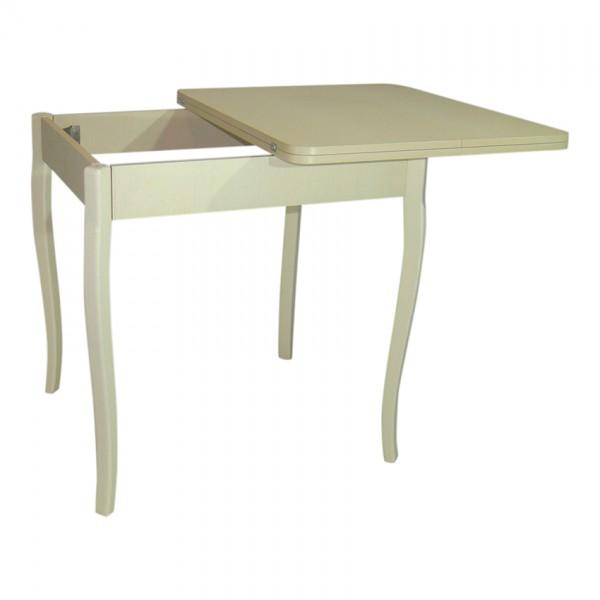 Стол обеденный раскладной Тавол Формади 65смх75смх75см с деревянными резными ножками Молочный