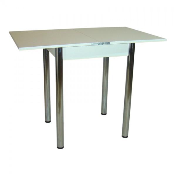Стол кухонный раскладной Тавол Компакт 50 см х 60 см х 75 см ноги металл хром Белый