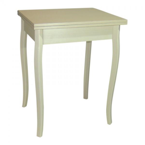 Стол кухонный раскладной Тавол Компакт 50 см х 60 см х 75 см ноги фигурные деревянные Молочный
