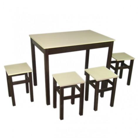 Стол Тавол Видрис + 4 табурета 93х60х75 Венге Молочный