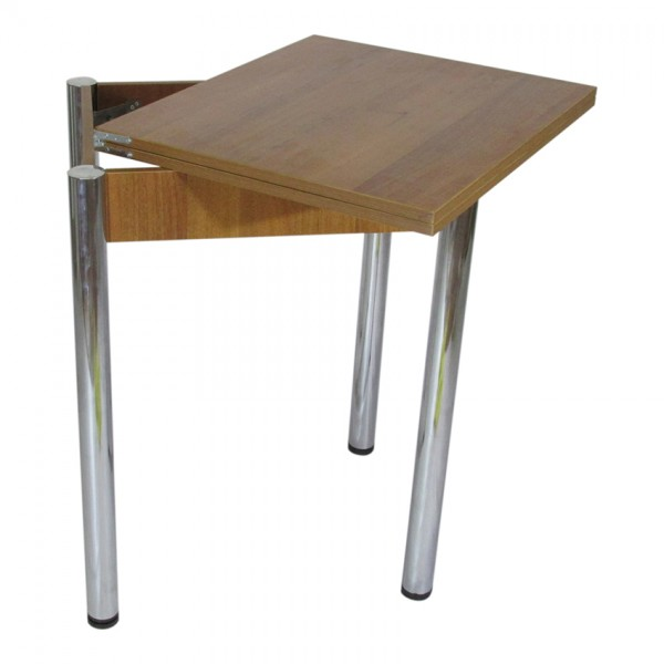 Стол кухонный раскладной Тавол Компакт ноги металл хром 50 см х 60 см х 75 см  Орех