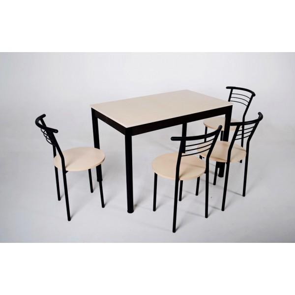 Комплект Тавол Видрис Б (Стол+4 стула) 110смх65смх75см металл черный Молочный
