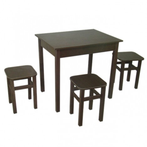 Обідній Комплект Тавол Ретта (стіл + 3 табурета) 80х60х75 Венге