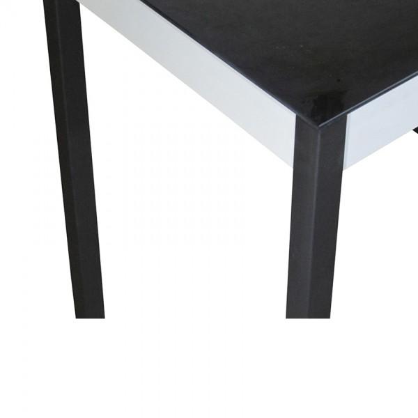 Стеклянный стол Тавол Видрис 93смх60смх75см деревянные ножки Черно-Белый