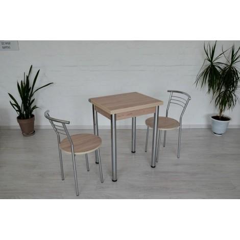Кухонный комплект Тавол Компакт 60см х 50см ножки металл хром (Стол раскладной + 2 стула) Ясень