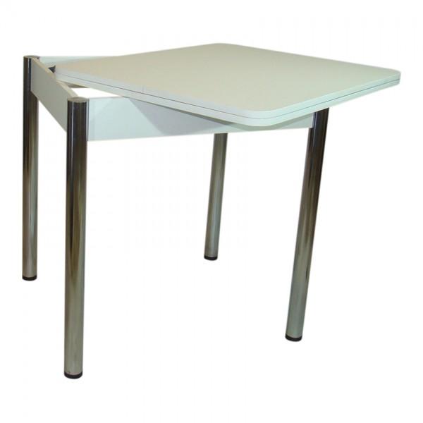Стол обеденный раскладной Тавол Формади 65смх75смх75см ноги металл\хром Белый