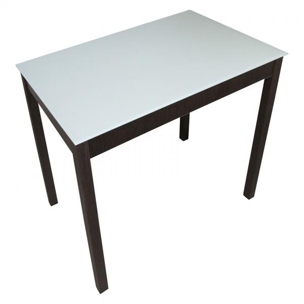 Стеклянный стол Тавол Видрис 93смх60смх75см деревянные ножки Венге-Молочный