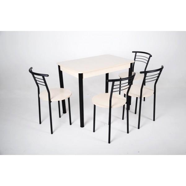 Стол Тавол Классик 93смх60смх75см черный металл + 4 стула Молочный