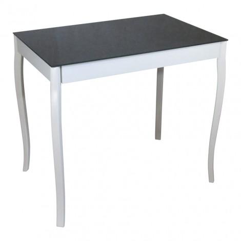 Стеклянный стол Тавол Видрис 93смх60смх75см фигурные деревянные ножки Черный